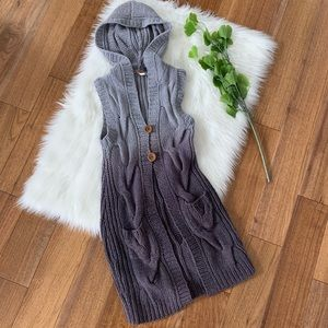 Free People | Ombré Purple Cable Knit Hooded Vest